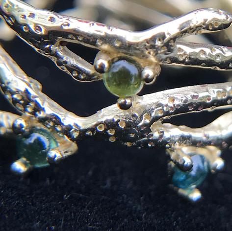 14K Coral Band Ring - Blue & green tourmaline cabochons