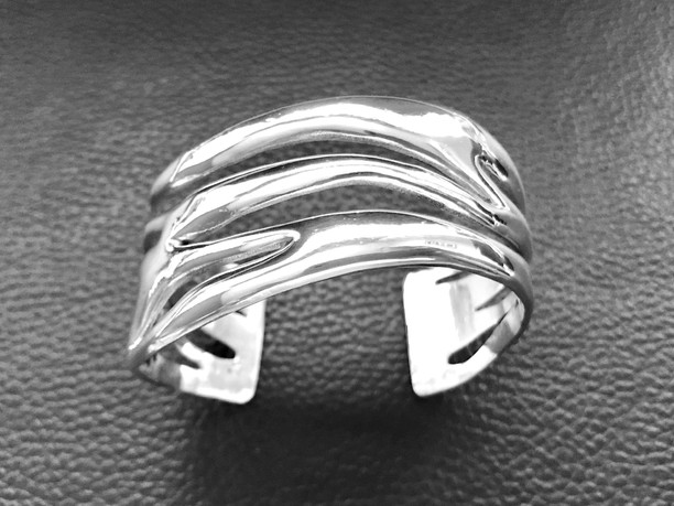 Flame cuff bracelet - solid sterling silver