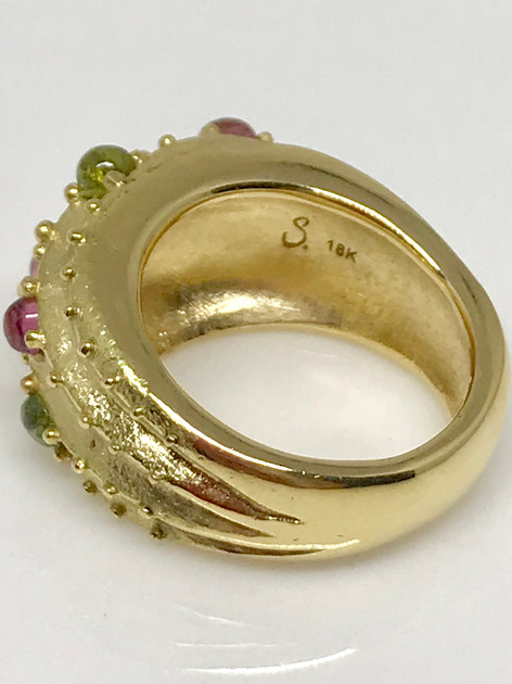Cactus Dome ring - 18k gold w/ natural pink & green tourmaline cabochons. Contact designer to inquire about princing in other metals.