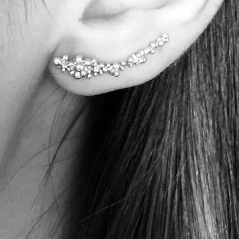 Asymmetrical Bubble Earings. Contact designer to inquire about pricing in 14K gold.