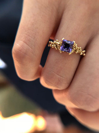 Bubble Ring - 14k yellow gold & princess cut Tanzanite. Custom order. Contact designer directly for stone and metal choice and pricing,