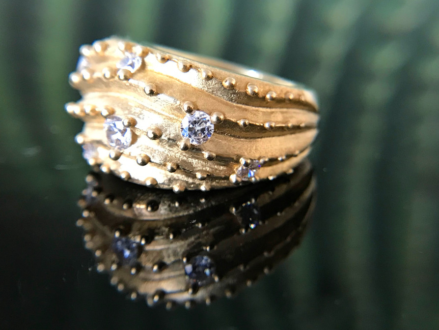 Cactus Dome Ring - 10K gold w/ natural white sapphires. Contact designer to inquire about princing in different metal.