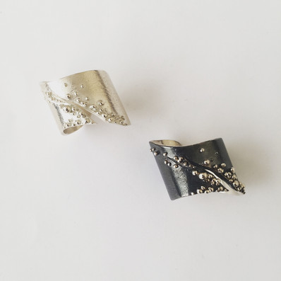 Sterling Silver & Oxidized Sterling Silver adjustable rings