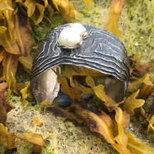 Oyster Cuff Bracelet - oxidized sterling silver w/ large baroque pearl $800