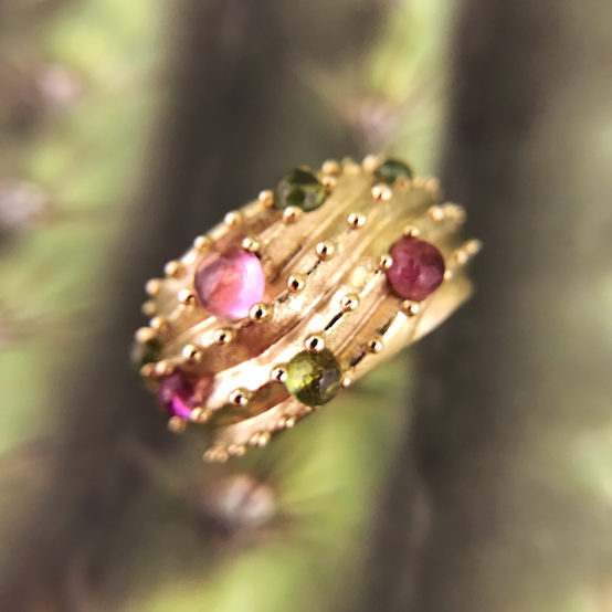 Cactus Dome Ring - 14K solid gold with pink and green tourmaline cabochons. Contact designer to inquire about pricing in other metals.