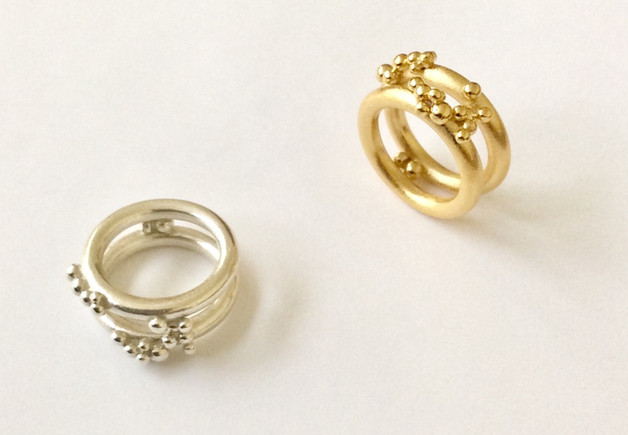 Bubble Rings in sterling ilver and 10k gold. Contact designer to inquire about pricing in other metals.