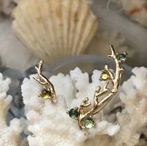 14k Gold Assymetric Crawling Earrings w/ aqua-toned tourmaline cabochons $490