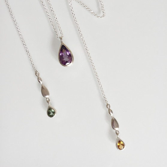 Droplets Chain Pendant - sterling silver, amethyst & yellow and green tourmalines