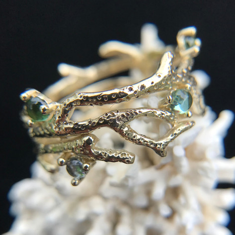 Solid Gold Coral Band Ring w/ Aqua-Toned Tourmaline Cabochons $860. Contact Designer for pricing in other metals