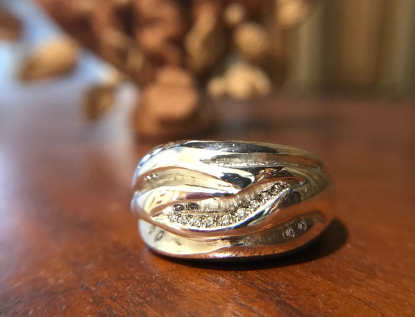 Flame Ring - Sterling Silver & Diamonds