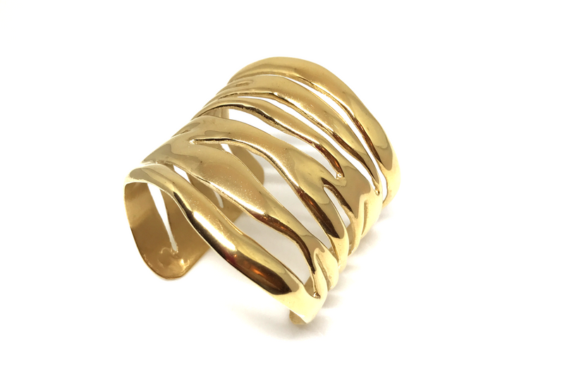 Flame Cuff Bracelet XL - Solid sterling silver w/ 14k plated gold. Contact designer directly for pricing in solid gold.