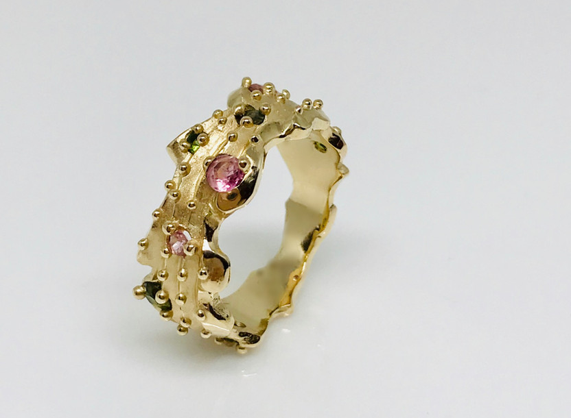 Cactus band ring - 14k rich yellow gold and faceted natural pink & green faceted tourmalines. Contact designer for princing in other metals.