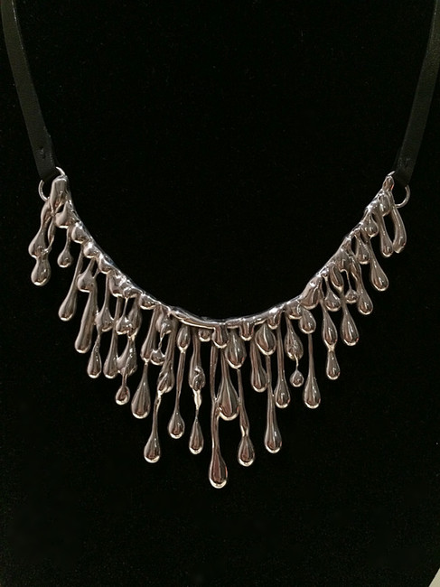Droplet Necklace -  Sterling Silver w/black leather strap.