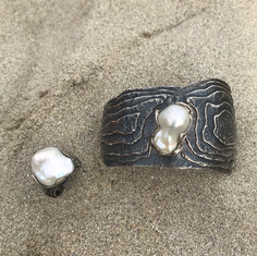 Oyster Cuff and Oyster Ring - Oxidized Sterling Silver w/ beautiful baroque pearls