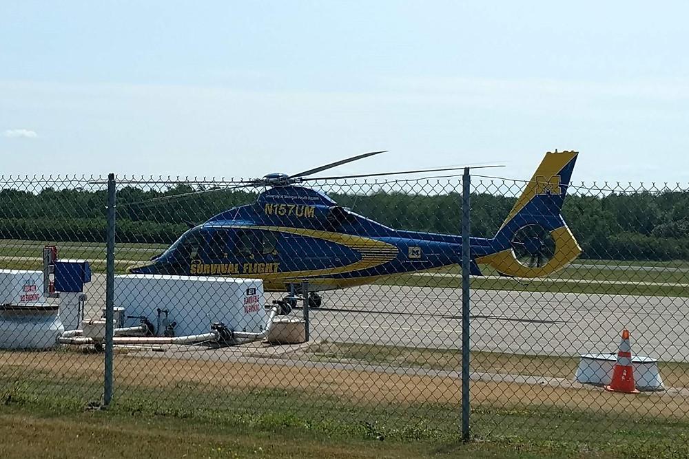 Chopper refueling at Sanderson Field
