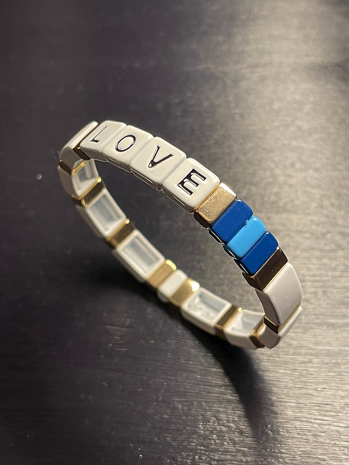 White LOVE Tile Bracelet
