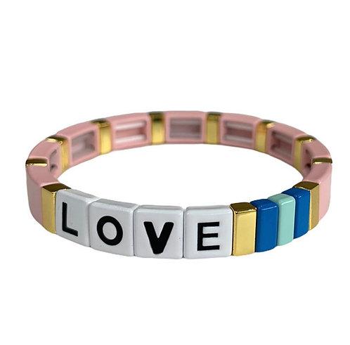 Pink LOVE Tile Bracelet