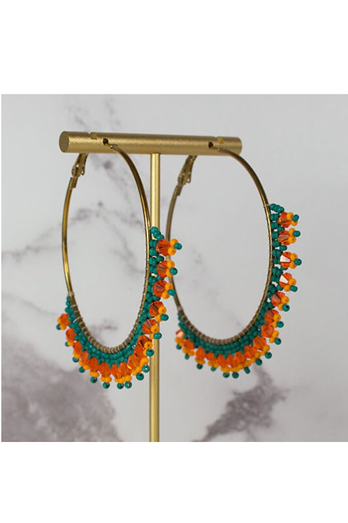 Large Beaded Hoop Earrings - MY DORIS
