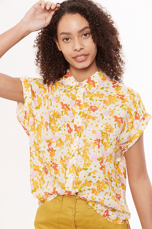 Abinaya Retro Floral Short Sleeve Shirt -Louche