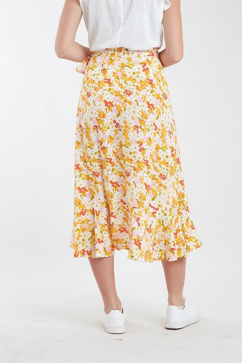 Amine Retro Floral Wrap Midi Skirt-Louche