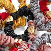 Gold Heart Silk Scrunchie - ByEloise London