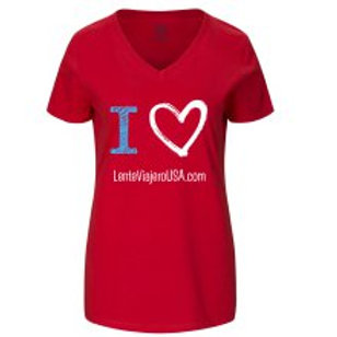 Fruit of the Loom® ladies' heavy cotton HD™ V-necks -L true red