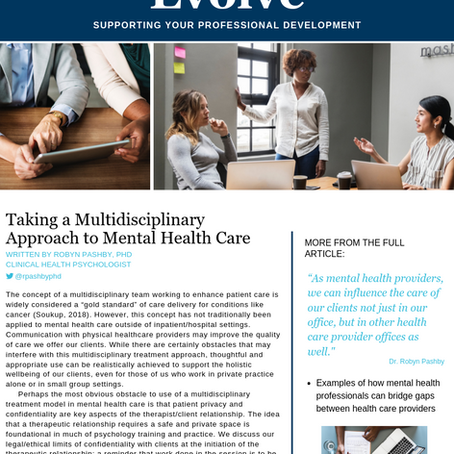 The importance of multidisciplinary care in mental health treatment. My newest publication is out!