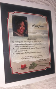 GIAF/Gift in a Frame w/Acrostic Name Poem - Large (ordered for birthday)