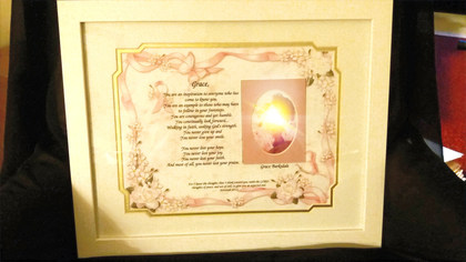 RIAF/Recognition in a Frame - Reflections- Large - (ordered for church service honoring cancer survivors)