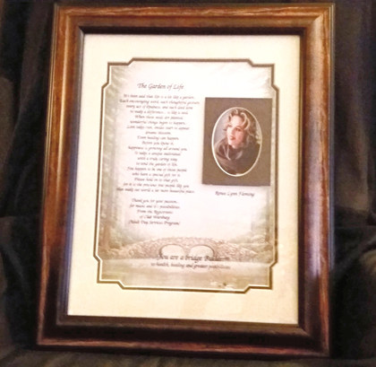 GIAF/Gift in a Frame - w/Poem -Large (made for a celebrity visitor)