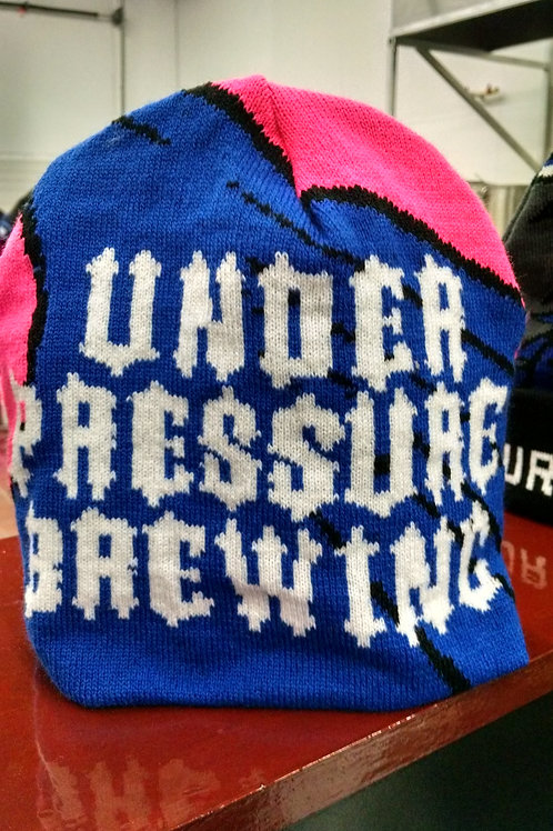 Custom Under Pressure Brewing Hot Pink Beanie Style Knit Hat