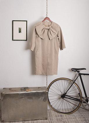 Moschino Beige Gray Bow Dress + Overcoat