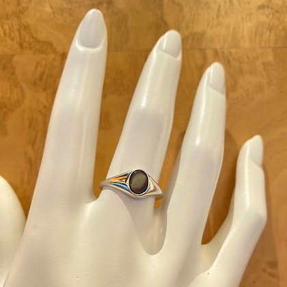 Sterling Silver Black Stone Signet Ring