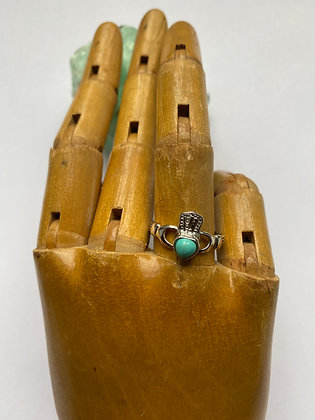 Sterling Silver and Turquoise Claddagh Ring
