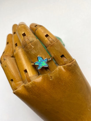 Sterling Silver and Synthetic Opal Star Ring