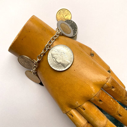 Milor Sterling Silver Italian Charm Coin Bracelet