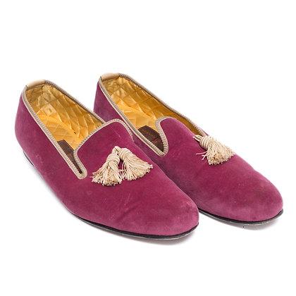 Matthew Cookson Fuschia Velvet Slipper Loafers