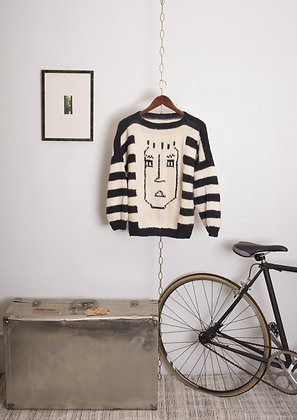 Vintage Knit Sweater with Face Design