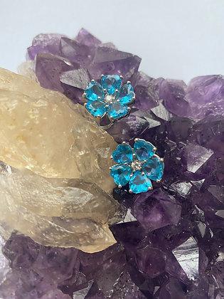 18K Gold Diamond and Blue Topaz Heart Flower Earrings