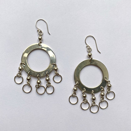 Sterling Silver Dangling Disc Earrings