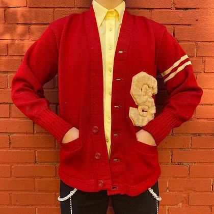 Vintage Red Letterman Cardigan