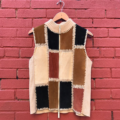 Leather Patchwork Sweater Vest