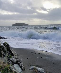 Waves crashing on Port Nadler beach in Cornwall