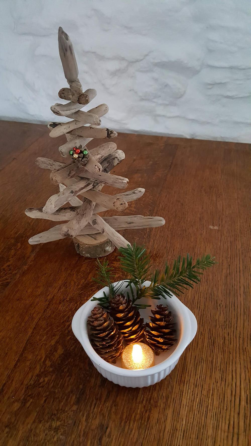 Christmas tree and candle.