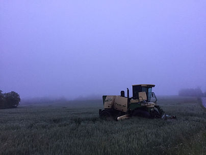 Agricultural Harvestor in Foggy Field in Germansville Pennsylvania