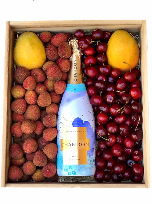 Champagne, lychees, mangoes and cherries Christmas box