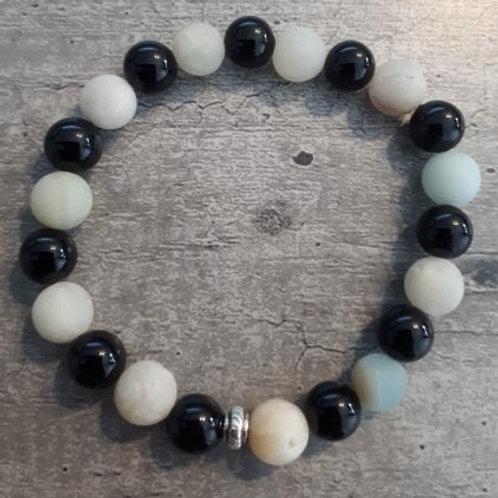 Bracelet en Onix Noir & Amazonite - BOUCLIER DE PROTECTION & REFUGE