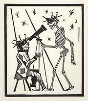 engraving, eduardo, lara, danse macabre, dance of death, artist, pritnmaking, astronomer