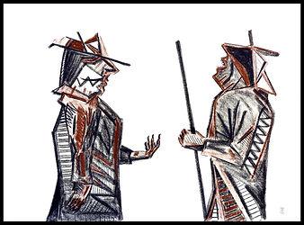 Eduardo Lara, drawing, blind man, death, charcoal, sanguine, artist, begging