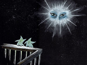 Two Star Watching a Pair of Brilliant Eyes in The Sky Gouache on paper 2013, eduardo lara illustration